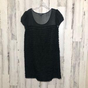 Kensie Black Layered Fringe Dress Size L NWOT